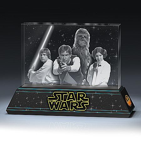 STAR WARS Rebel Alliance Laser-Etched Glass Tribute Sculpture