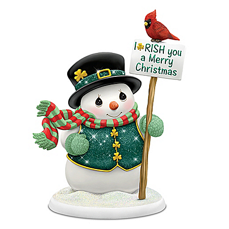 Precious Moments I-RISH You A Merry Christmas Snowman Figurine
