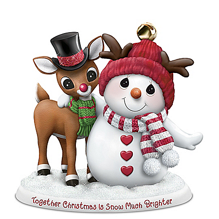 Precious Moments Snowman And Rudolph The Red Nosed Reindeer Figurine