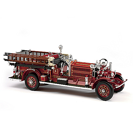 1:24-Scale Ahrens-Fox N-S-4 Fire Engine Diecast Truck With Removable Hook Ladders & Fire Extinguisher