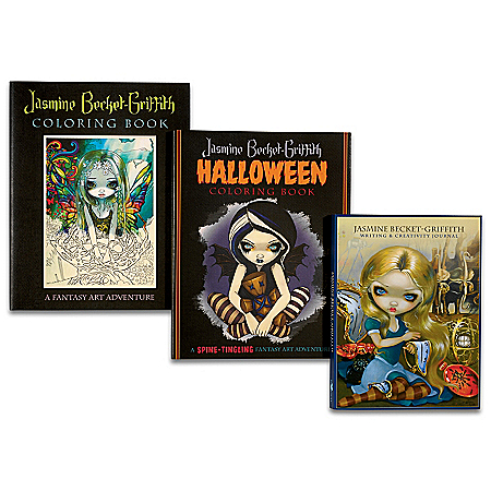 Jasmine Becket-Griffith Fantasy Art Coloring Book Set With Full-Color Art Prints