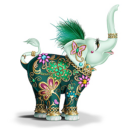 Margaret Le Van Lucky In Love Hand-Painted Elephant Figurine
