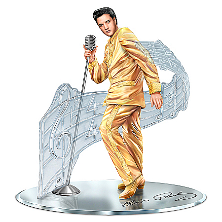 Elvis Presley Sculpture In Gold Lame Suit On Mirror Base with Swarovski Crystals