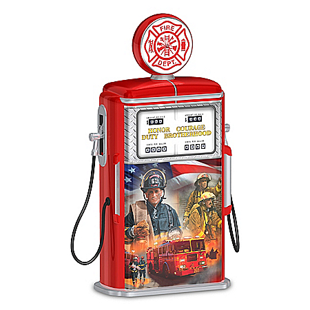 Vintage Gas Pump Firefighter Tribute with Glen Green Art and Light Up Globe Top