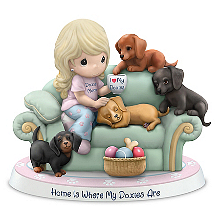 Precious Moments Home Is Where My Doxies Are Bisque Porcelain Figurine