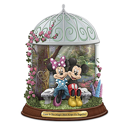 Disney Thomas Kinkade Mickey Mouse and Minnie Mouse Personalized Figurine