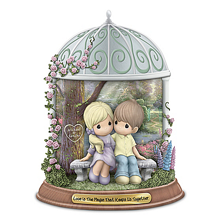 Precious Moments Couples Figurine with Thomas Kinkade Artistry and Your 2 Names