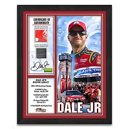 Dale Earnhardt Jr. Autographed Racing Moments NASCAR Wall Decor