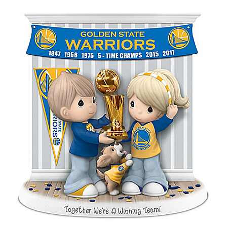 The Bradford Exchange Online - Precious Moments Together We're A Winning Team Golden State Warriors 2017 NBA Finals Championship Commemorative Figurine Photo