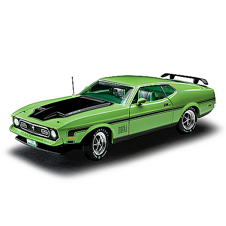 1:18-Scale 1971 Ford Mustang Mach 1 Diecast Car With A Grabber Lime Paint Scheme