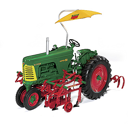 Oliver Super 88 Row Crop 2-Row Cultivator And Umbrella 1:16 Scale Diecast Tractor