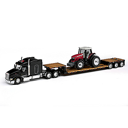 Massey Ferguson 8660 Tractor With Peterbilt 579 Semi With Trailer Diecast Set