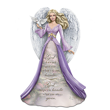 Thomas Kinkade Angel Figurine with Inscription and Pools of Serenity artwork