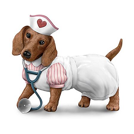Nurses Are Su-paw Heroes Hand-Painted Dachshund Figurine