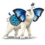Blue Majesty Hand-Painted Elephant Figurine