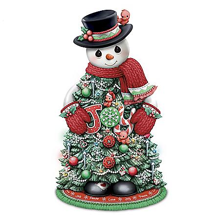 Precious Moments Illuminated Holiday Snowman Tree Sculpture