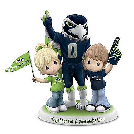 Precious Moments Porcelain Couple With Seahawks Mascot