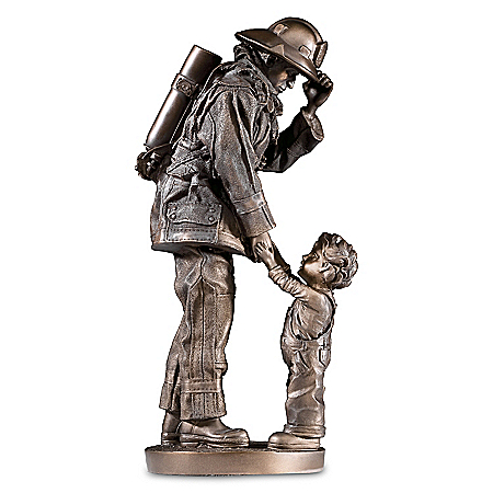A Gentle And Honorable Courage Cold-Cast Bronze Firefighter Sculpture