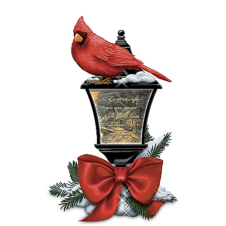 Thomas Kinkade Remembrance Sculpted Cardinal Lantern Lights Up from Within