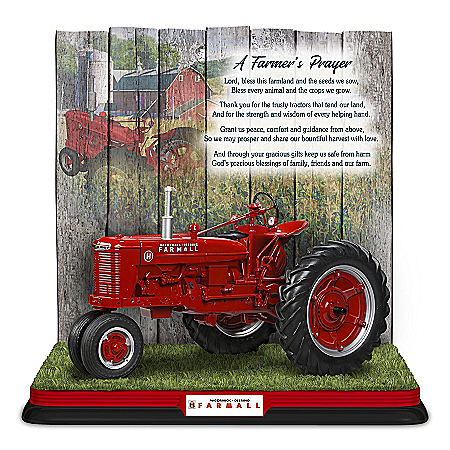 Farmall: A Farmer's Prayer Hand-Painted Sculpture