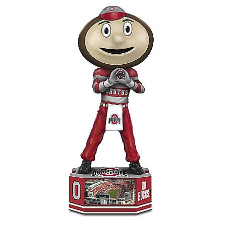 Brutus Buckeye Ohio State Mascot Figurine with Pedestal Base