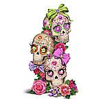 Margaret Le Van Celebration Of Love Everlasting Glow In The Dark Hand-Painted Sugar Skull Sculpture