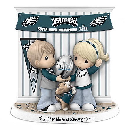 Precious Moments Together We're A Winning Team Philadelphia Eagles Figurine