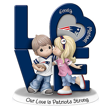 Precious Moments Our Love Is New England Patriots Strong Figurine with 2 Names