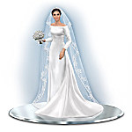 Her Royal Highness Meghan Markle Handcrafted Wedding Gown Figurine With Swarovski Crystals