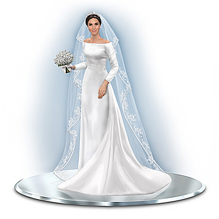 Meghan Markle Wedding Gown Figurine with Swarovski Crystals and Fabric Veil