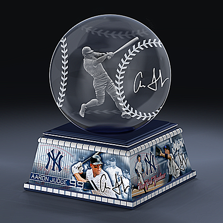 New York Yankees Aaron Judge MLB Laser-Etched Glass Baseball Sculpture