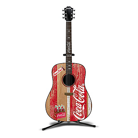 COCA-COLA A Refreshing Tune Hand-Painted Guitar Sculpture