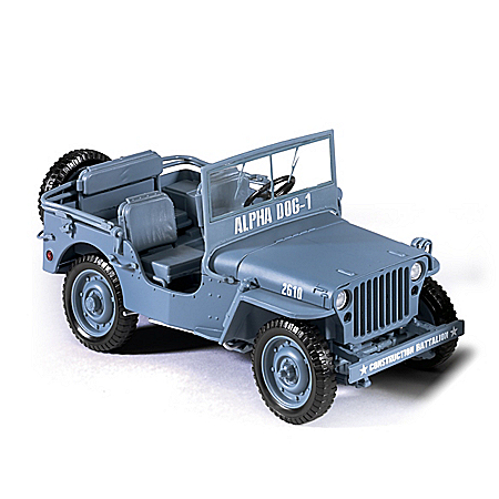 1:18-Scale 1941 Willys Diecast WWII Blue Military Jeep
