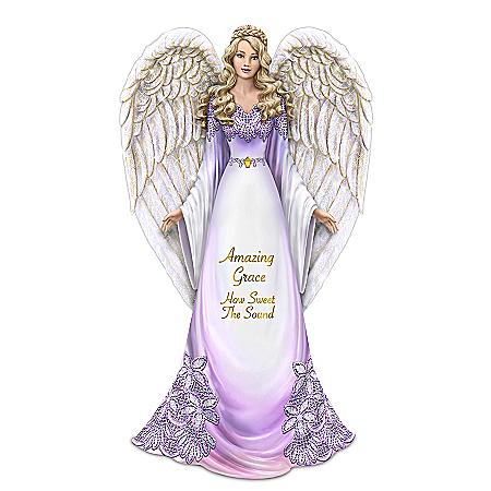 Thomas Kinkade Angel Figurine With Amazing Grace Lyrics