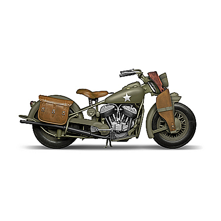 Indian Motorcycle Sculpture With Military Paint Scheme