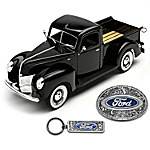 1 - 25-Scale 1940 Ford Pickup Diecast Truck With Key Chain & Belt Buckle