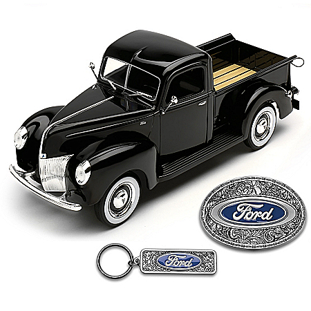 1:25-Scale 1940 Ford Pickup Diecast Truck With Key Chain & Belt Buckle