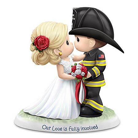 Precious Moments Bride & Fireman Groom Porcelain Figurine
