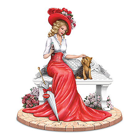 A Delightful Day By COCA-COLA Lady And Yorkie Figurine