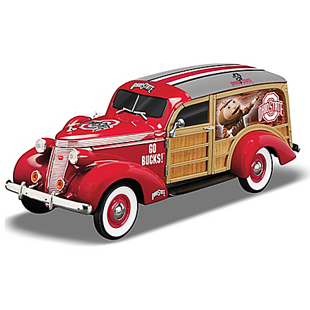 Cruising To Ohio State Buckeye Victory Woody Wagon Sculpture