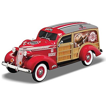 Cruising To Ohio State Buckeye Victory Woody Wagon Sculpture