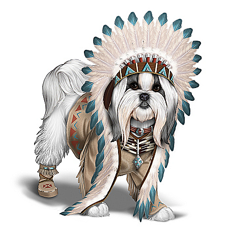 Chief Barks A Lot Handcrafted Shih Tzu Figurine
