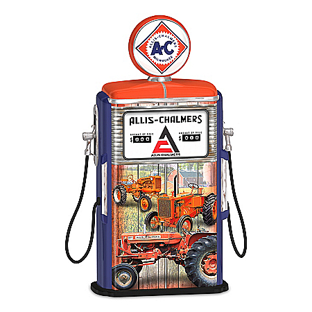Allis-Chalmers Illuminated Vintage-Inspired Gas Pump Sculpture