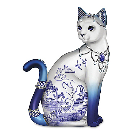 Blue Willow Porcelain Cat Figurine With Swarovski Crystals