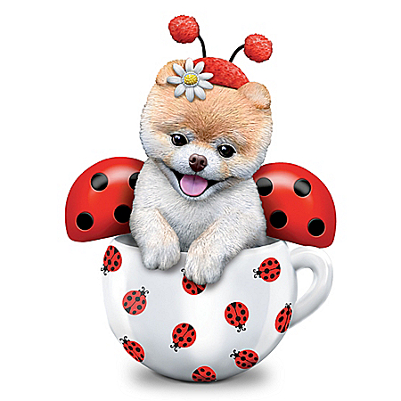 Boo-tiful Love Bug Hand-Painted Dog Figurine