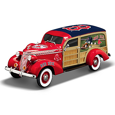 Cruising To Victory Boston Red Sox MLB Woody Wagon Sculpture