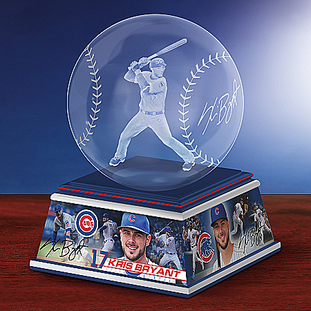 Chicago Cubs Kris Bryant MLB Laser-Etched Glass Baseball Sculpture