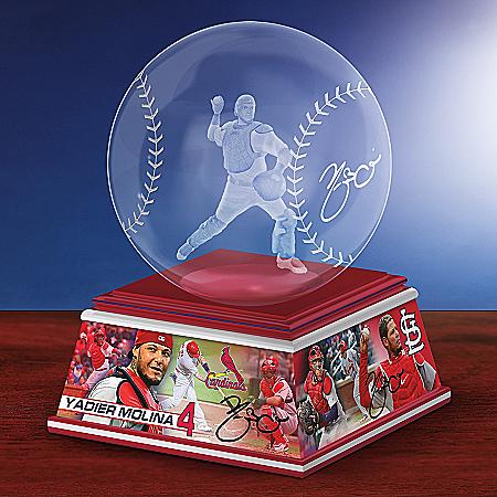 Yadier Molina Laser-Etched Glass Baseball Sculpture