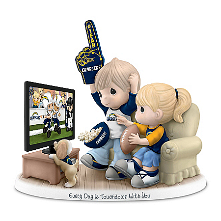 Precious Moments Los Angeles Chargers Fan Porcelain Figurine