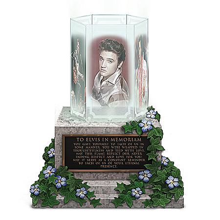 Illuminated Elvis Presley Glass-Panel Memorial Sculpture